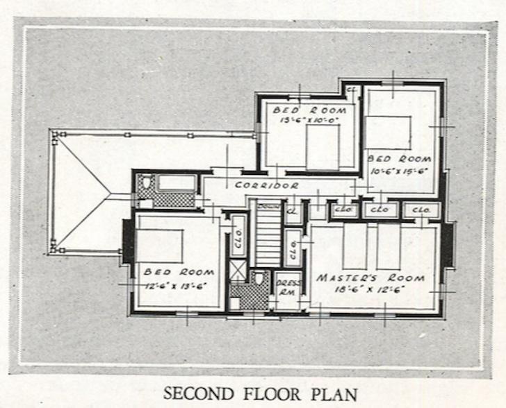 Sears house seeker 1931 32 catalog image of second floor floor plan sears new haven model malvernweather Images