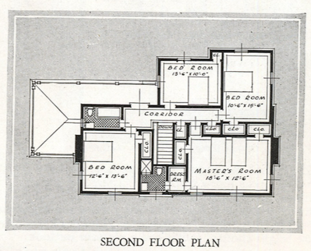 1931-32 catalog image of second floor floor plan Sears New Haven model