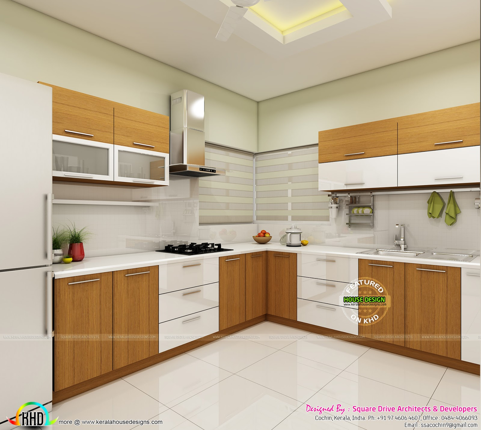 Modern home interiors of bedroom dining kitchen kerala Bedroom with kitchen design
