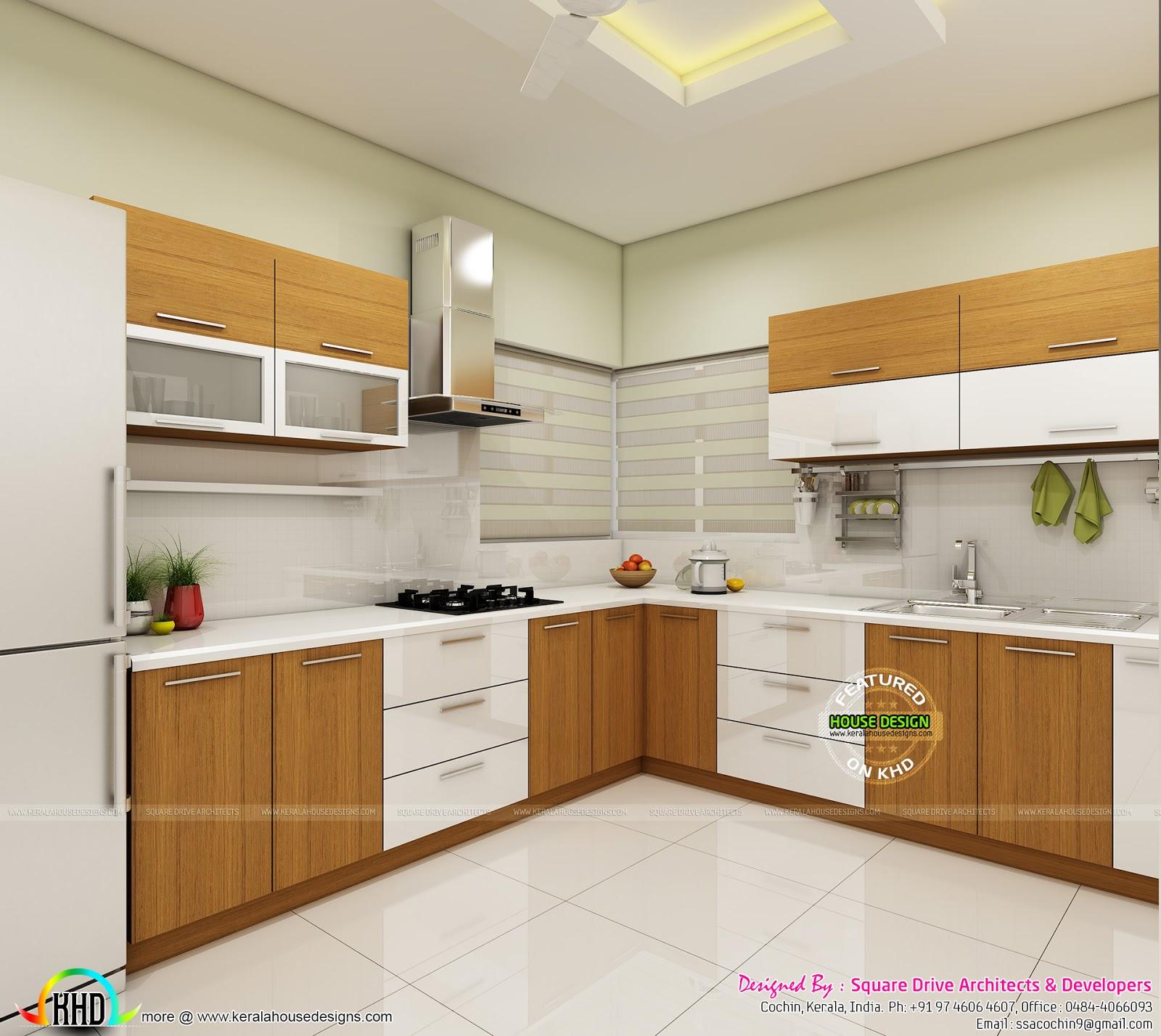 Modern home interiors of bedroom, dining, kitchen - Kerala ...