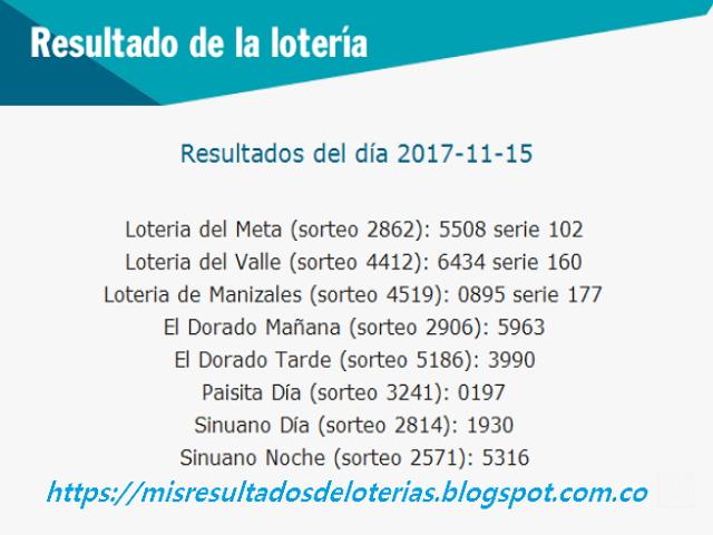Como jugo la lotería anoche | Resultados diarios de la lotería y el chance | resultados del dia 15-11-2017