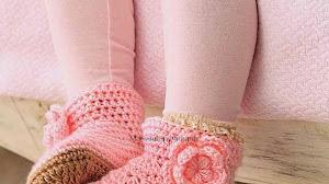 Patrones de botas para niña al crochet
