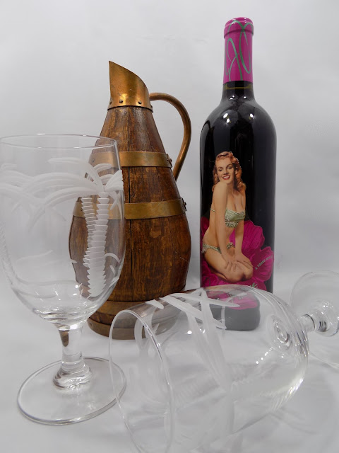 French Ale or Wine Pitcher, Original LC Label Hand Made in Normandy, Oak and Copper with Marylin Monroe wine bottle