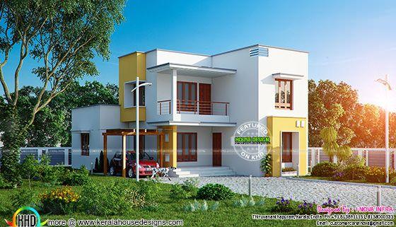 Flat roof 209 sq-m house plan