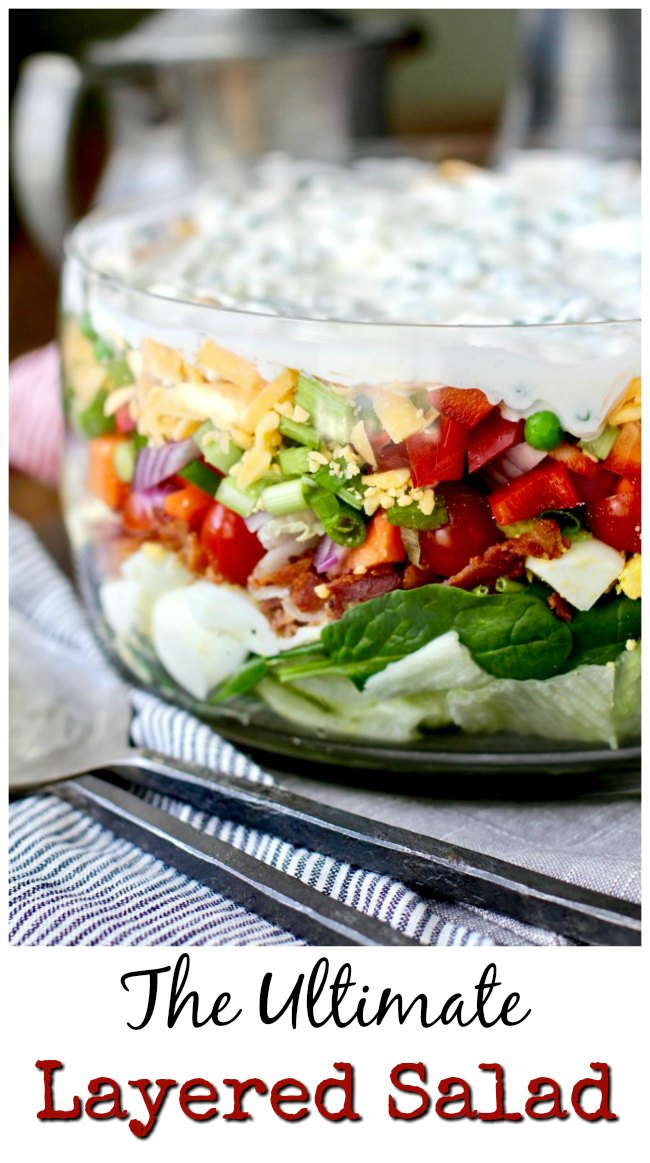 Twelve Layer Salad with iceberg, baby spinach, bacon, and peas (and lots of other veggies)  #salad #layeredsalad
