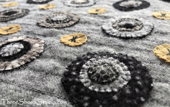 'Licorice Penny Rug' by Rose Clay at ThreeSheepStudio.com