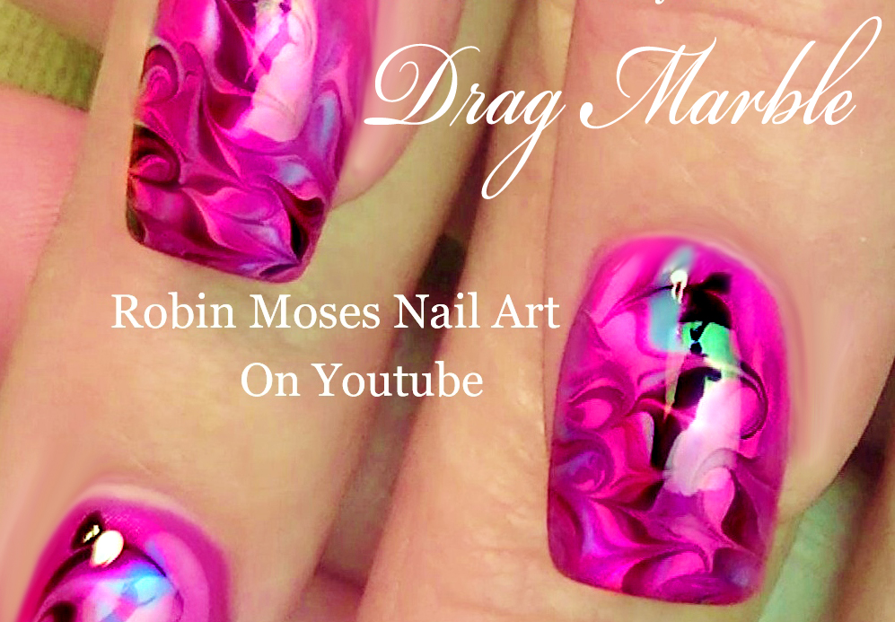 Nail Art By Robin Moses Drag Marble Nail Art