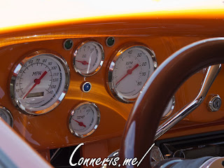 Orange Ford Coupe Hot Rod Interior