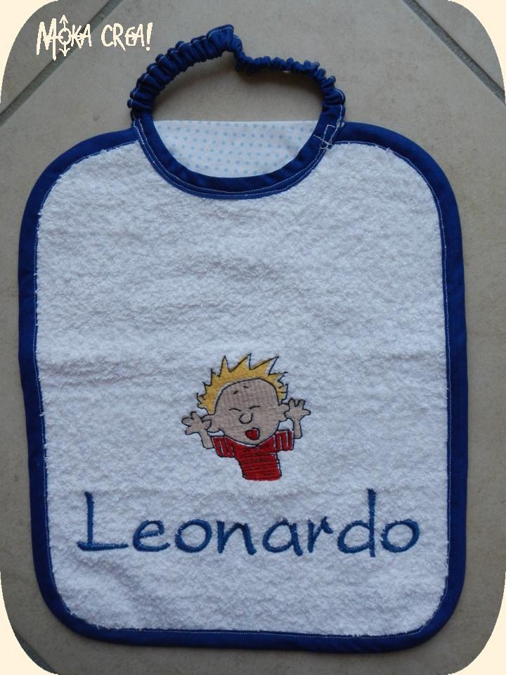 Asciugamani E Bavaglini Personalizzati.Moka Crea Set Asilo Per Leonardo 1 Bavaglini Ed Asciugamani Ricamati