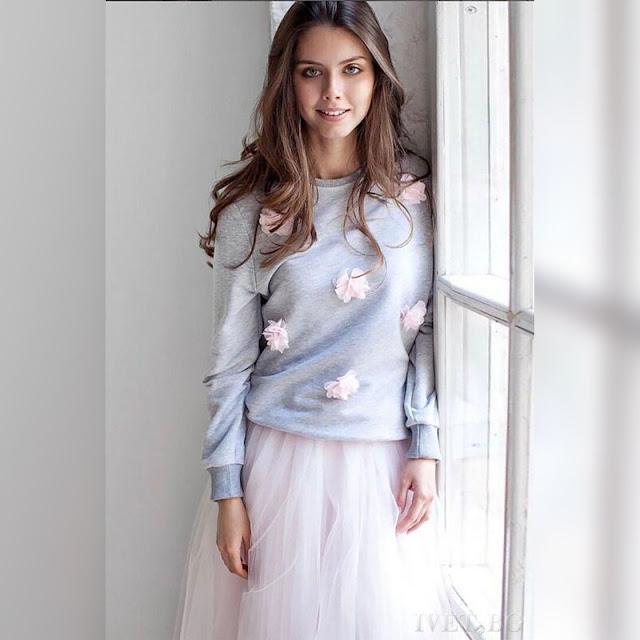 Μακρυμάνικη γκρι γυναικεία μπλούζα NARINA GREY