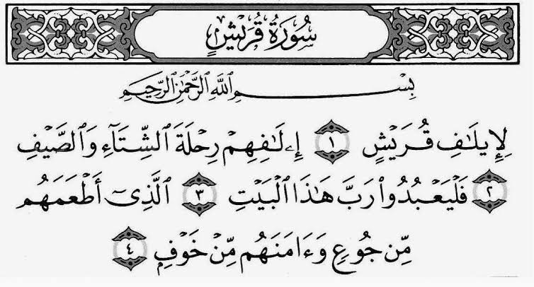 Surat Al Quraisy Arab Latin Dan Terjemahan