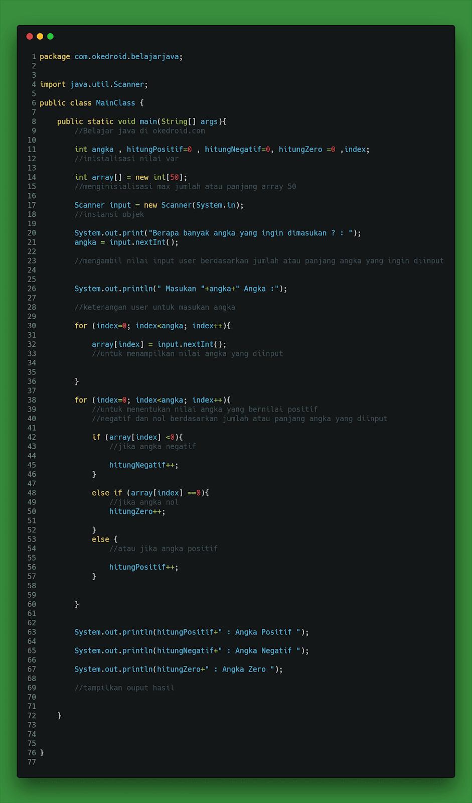 Contoh Code Program Menghitung Nilai Angka Positif ,Negatif dan Nol di Java