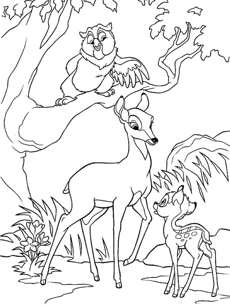 раскраска, Бэмби, олененок, зверята, животное