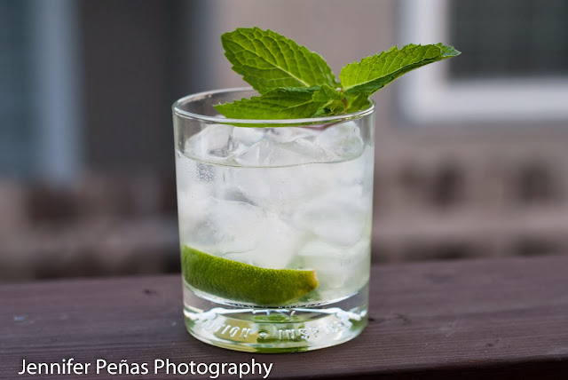 Mojito, mint leaves, lime wedges, lime juice, simple syrup, white rum, club soda