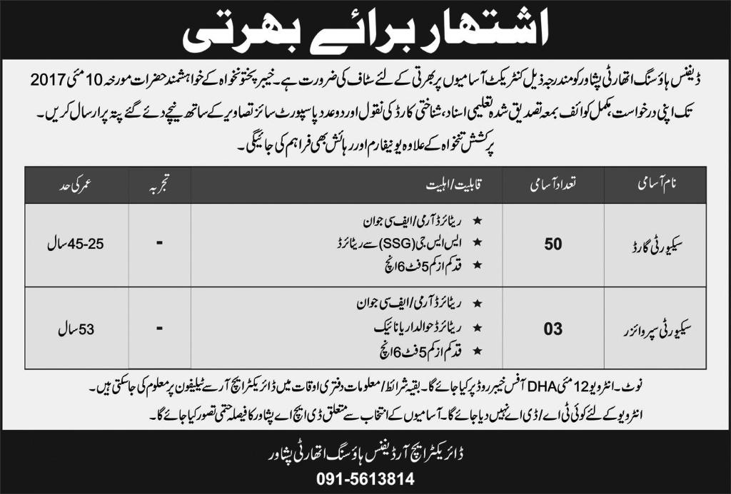 Security Vacancies In Defence Housing Authority Peshawar 3 May 2017