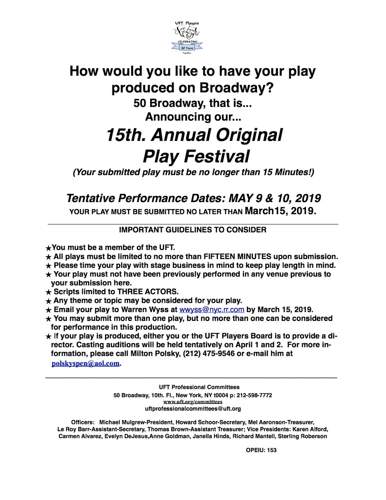 The UFT Players Blog: GUIDELINES for SUBMISSIONS - 15th Annual