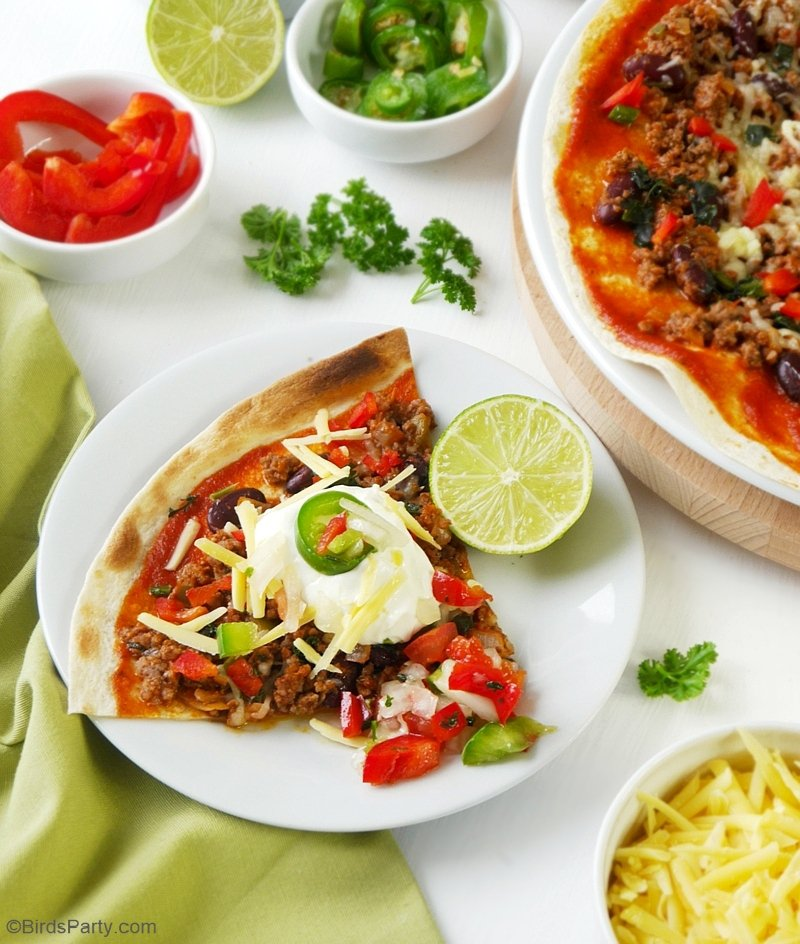 Quick & Easy Mexican Tortilla Pizzas - revamp your old classic pizza recipe with a  few Mexican twists for a healthier party appetizer or snack! | BirdsParty.com
