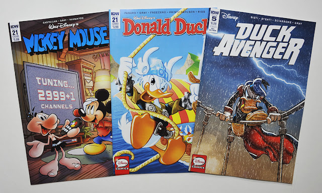 IDW's Mickey Mouse #21, Donald Duck #21, Duck Avenger #5 (regular cover variants)