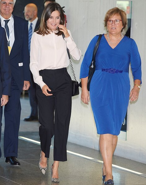 Queen Letizia wore Hugo Boss pink silk blouse and Hugo Boss trousers, and Magrit snake printed pumps, she carried Uterque bag