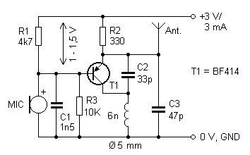 Eletrônica Campo Elétrico : Esquema micro transmissor FM