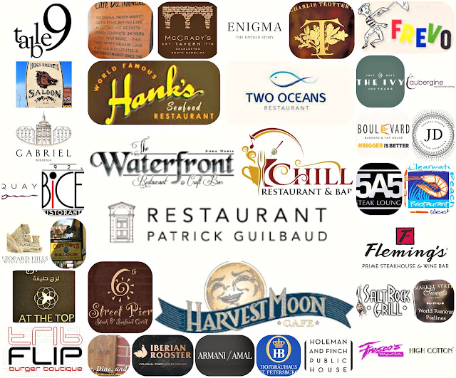 Some of the many restaurant logo's, all reviewed on Wine Dine And Play
