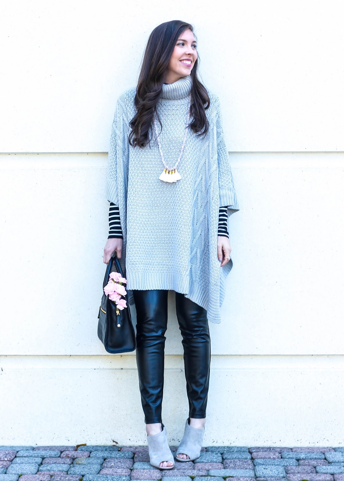 Grey Turtleneck Poncho, SheIn poncho, striped turtleneck with poncho, j crew striped turtleneck, fall outfit, fall style, fall trends, Sylvia Benson tassel necklace, Sylvia Benson jewelry, faux leather leggings, Vera Bradley quilted satchel, grey suede open toe booties, fall layers, pretty in the pines blog, pretty in the pines