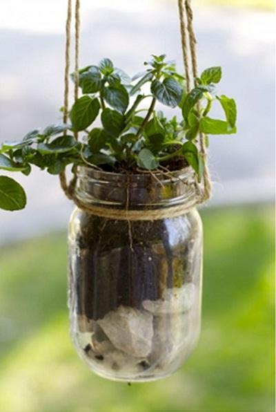 Manfaatkan toples mason jadi pot gantung untuk tanaman herbal