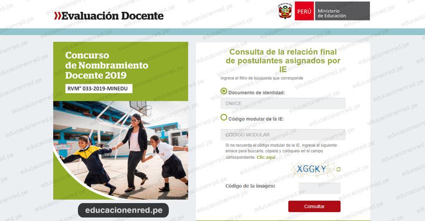 MINEDU: Relación Final de Postulantes por Institución Educativa (Relación Definitiva 11 Septiembre - Nombramiento Docente 2019) www.minedu.gob.pe