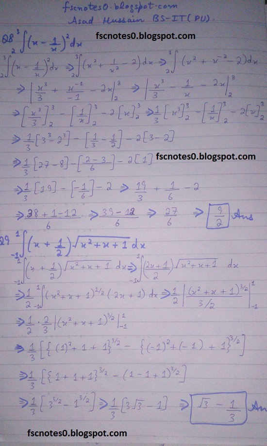 FSc ICS Notes Math Part 2 Chapter 3 Integration Exercise 3.6 question 1 - 9 by Asad Hussain 3
