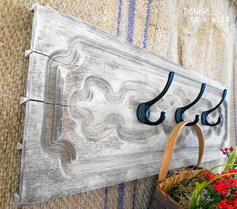 Salvaged Drawer Front Becomes a Hook Board via http://deniseonawhim.blogspot.com