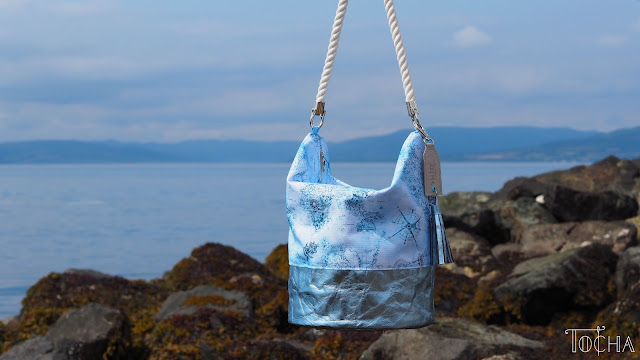 bucket bag, hobo bag, map, sailor, rope, nautical, Washpapa, Largs, adventure, voyage, Largs, Scotland, waterproof polyester,  Vegan bag, sea side,