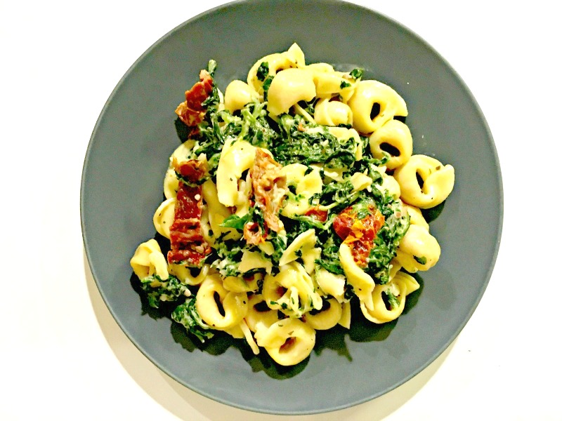 Creamy Mozzarella sun-dried tomato basil spinach tortellini recipe - Delicious and easy weeknight dish - Ioanna's Notebook