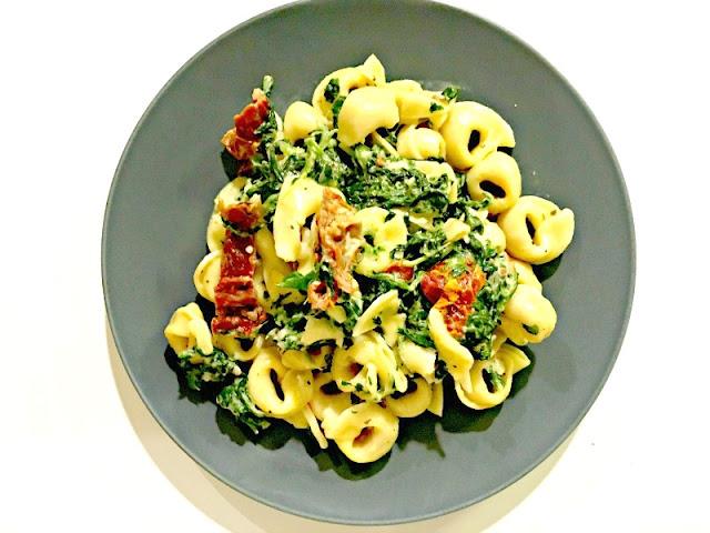 Creamy Mozzarella sun-dried tomato basil spinach tortellini recipe - Delicious and easy weeknight dish - Ioanna's Notebook