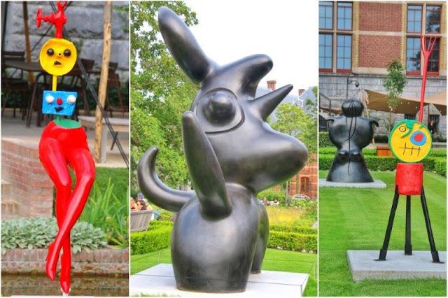 Esculturas de Joan Miro en los jardines del Rijksmuseum en Amsterdam – Muchacha evadiéndose, Pajaro lunar, Personaje y Mujer de pie