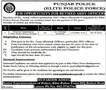 GOVT JOBS, punjab police, Director Operatons, 2016, Punjab, Latest Jobs in Punjab Police Elite Force,
