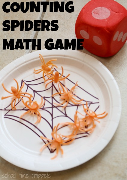Simple and fun Counting Spiders Math Game for Preschoolers.  Also easy enough to adapt to older kiddos!