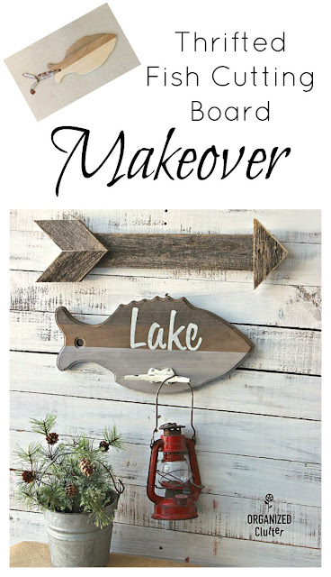 Repurposed Thrift Shop Cutting Board Wall Hook #Lakedecor #oldsignstencils #stencil  #upcycle #thriftshopmakeover