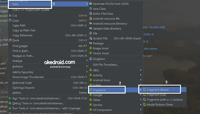 New Fragment Android Studio