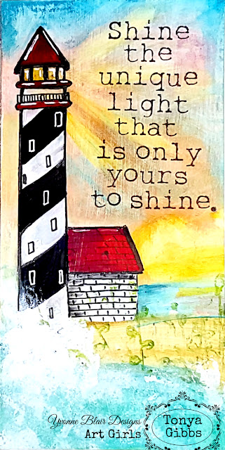 Shine The Unique Light - Art Journal Page by Tonya A. Gibbs for YvonneBlair.com #IOStamps #YvonneBlairArtGirls #YBArtGirls #ImpressionObsession #PsychomomsScrapbooks #TonyaAGibbs