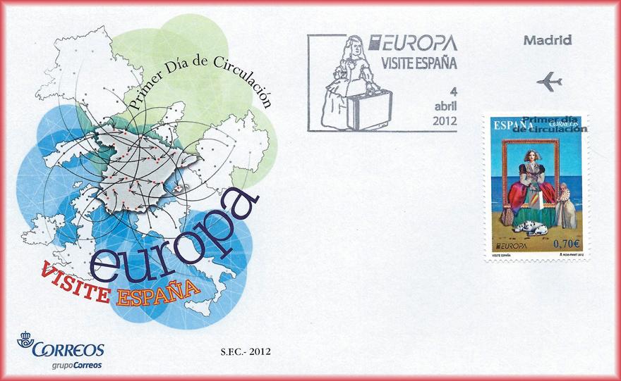 Sobre con sello serie Europa Visite España, de JCarrero