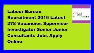Labour Bureau Recruitment 2016 Latest 278 Vacancies Supervisor Investigator Senior Junior Consultants Jobs Apply Online