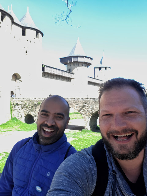 Budget Traveller Kash and The Social Traveler Bjorn in Carcassonne