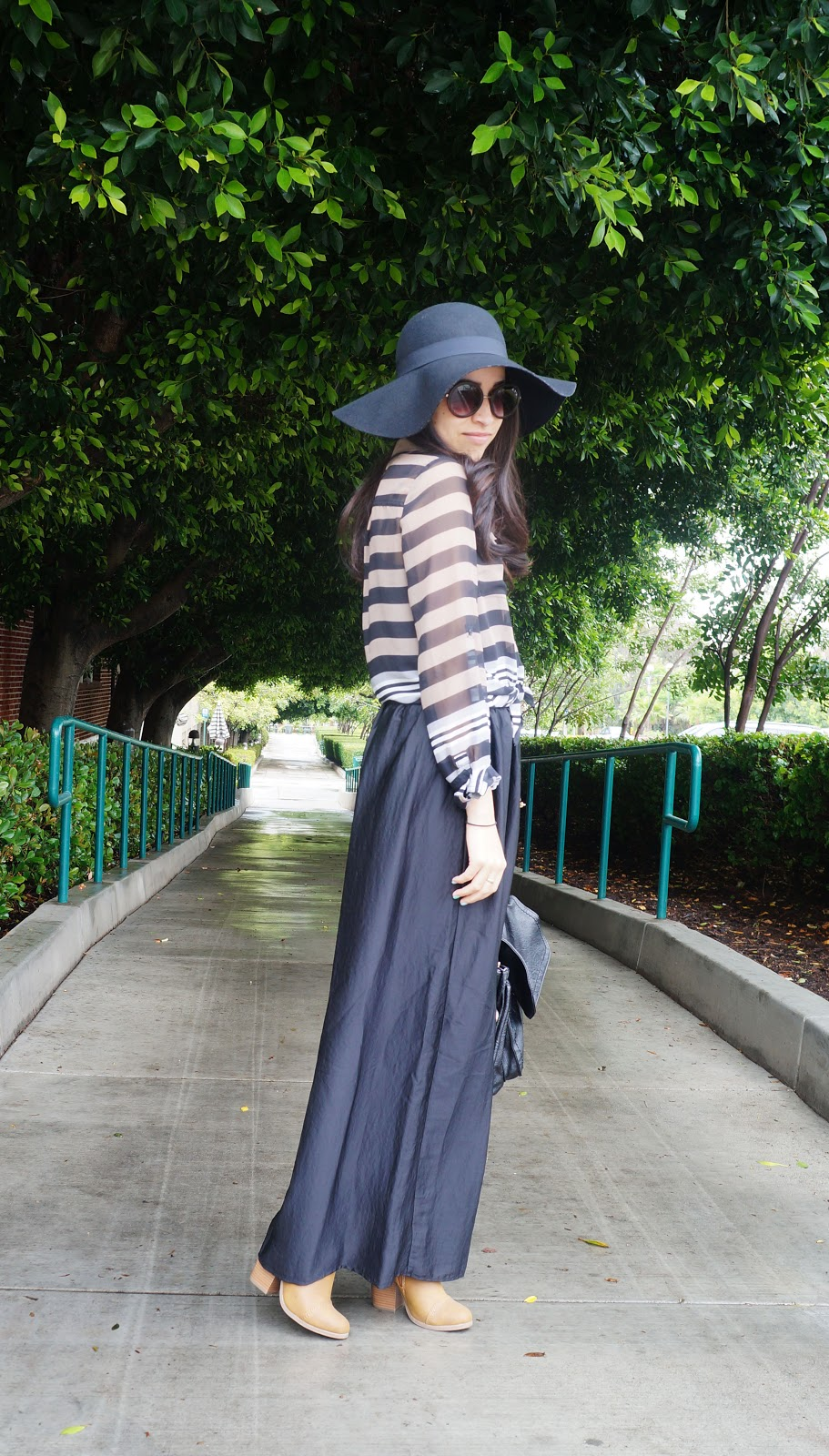 efc6c9ec08 Maxi Skirt: Target, $24.99 | Top: Old Navy, $16.99 | Booties: LC lauren  Conrad | Hat: Apt. 9 | Purse: TJ Maxx | Sunglasses: Nordstrom, $12