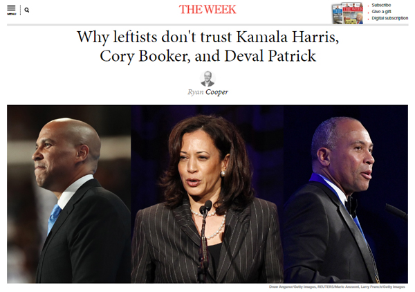 screen cap of the top of Cooper's article, showing the headline 'Why leftists don't trust Kamala Harris, Cory Booker, and Deval Patrick' and images of Cory Booker, Kamala Harris, and Deval Patrick, all people of color
