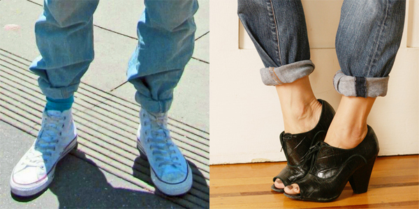 side-by-side images of feet wearing sneakers and feet wearing heels, each below a pair of jeans with 1980's style roll-tucked cuffs