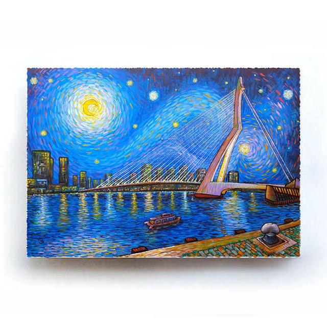 Rotterdam Erasmusbrug Like Van Gogh