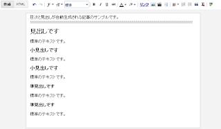 Blogger目次カスタマイズ・サンプル下書きの画像