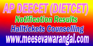Andhra Pradesh DEECET (DIETCET) 2017 Notification Halltickets / Results Download
