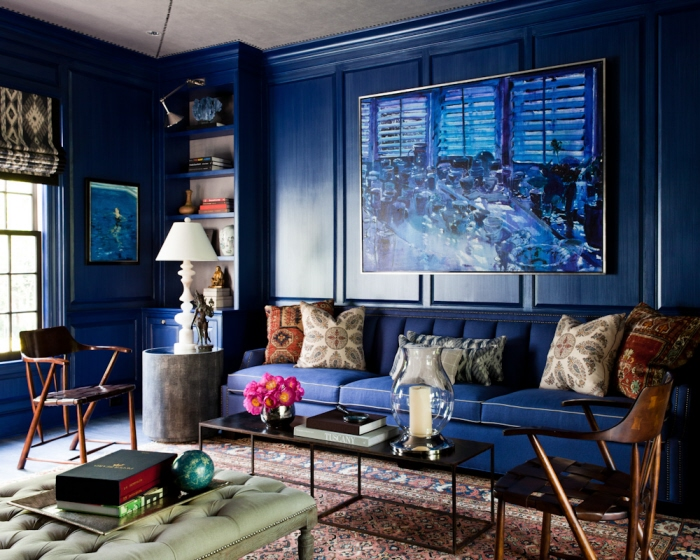 Lisa mende design best navy blue paint colors 8 of my favs for Living room navy walls
