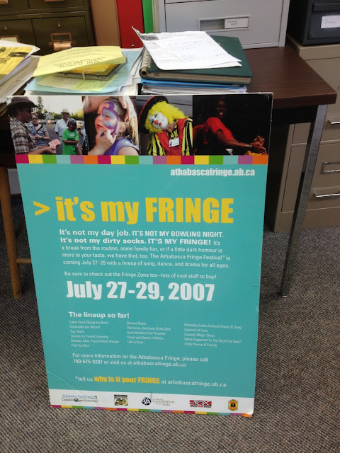 A poster for Athabasca's Fringe Festival, proclaiming the theme it's my FRINGE, and showcasing some scenes from past Fringes.